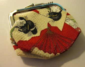 """Japanese Geisha Print Silk Fabric Mini Coin Purse, 3"""""""