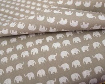 Back in Stock, Daiwabo Japan Fabric, Little White Elephants on GREY , Cotton,  1/2 yard