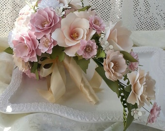 Paper Bouquet, Paper Flower Bouquet, Cascading Bouquet, Shabby Chic Bouquet, Wedding Bouquet, Handmade Flowers, Blush Pink and Gold, Custom