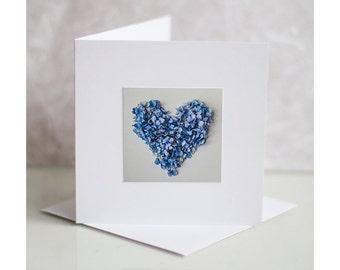 Photo greeting card. Heart greeting card. Valentines greeting card.  Blank card. Hydrangea heart valentine's card. Blue hydrangea heart
