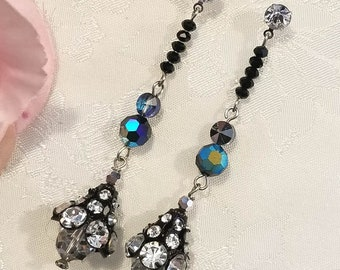 Jet Black Earrings ~ Rhinestone Earrings ~ Dangle Earrings ~ Assemblage Earrings ~ Vintage Earrings ~ Upcycled Jewelry ~ FREE SHIPPING