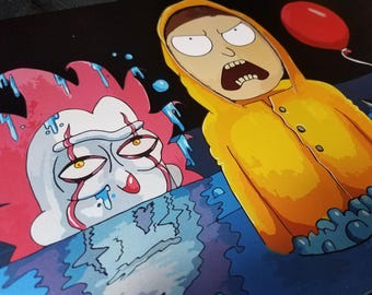 """Print of """"You'll Float Too!"""" a Rick and Morty/IT mashup"""