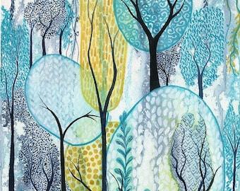 Cascading - Original watercolour abstract garden painting