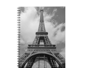 Eiffel Tower Custom Notebook - Paris photography, France Print, Black and white, Custom Journal, Travel diary