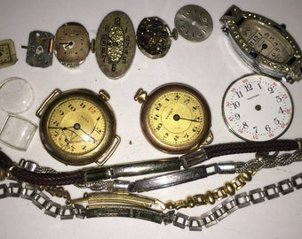 Art Deco Watch Collection Parts Edwardian Watches Destash Collection Wholesale Steampunk Collage Art Project