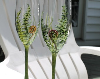 Hand painted Woodland champagne flutes