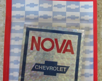 Vintage Nova Chevrolet Sticker Silver Red Blue (new in package)