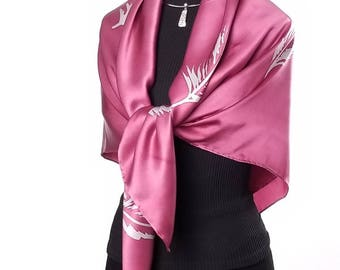 Pink Champagne, Luxury Hand Painted Silk Scarf / Wrap