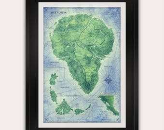 Jurassic Park Map - Full Color - Isla Nublar Map - Antique Style Vintage World Map - Dinosaur - Top Selling - Art Print Poster