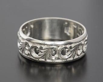 Silver wedding band, Silver wedding ring, Filigree ring, Filigree band, Fine wedding band, Fine wedding ring, Women wedding band