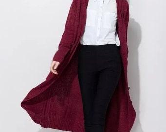 Hoodie sweater coat / Knitwear / Batwing-sleeved blouse / comfortable cardigan