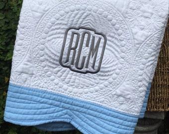 Monogrammed Baby Blanket, Baby Blanket, Baby Quilt, Baby Shower, Gift, Monogrammed Blanket, Personalized Blanket, Childs Blanket
