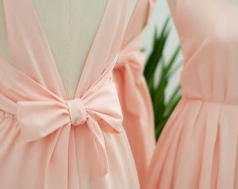 Pink Prom dress blush pink bridesmaid dress party dress pink cocktail dress backless dress short bridesmaid dress pink party dress