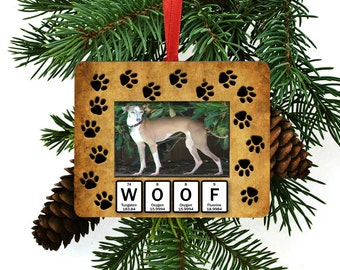 Dog Woof Periodic Table of Element Christmas Tree Ornament / Picture Frame