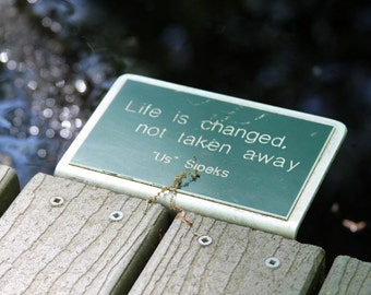 Life Is Changed Not Taken Away Quote Pond Water Bokeh Fine Art Photo Print Home Wall Decor by Rose Clearfield on Etsy