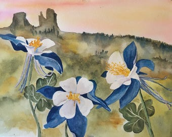 Original Watercolor Painting, Colorado Mountain, Rabbit Ears + Columbine Flowers, State Flower, 1st Anniversary Gift, Home Decor