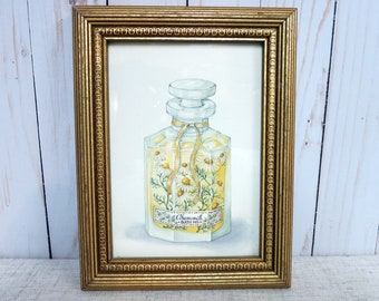 Vintage Chamomile Bath Oil Print Framed Picture of Chamomlie Bath Oil Bottle Vintage Picture of Bath Oil - V302