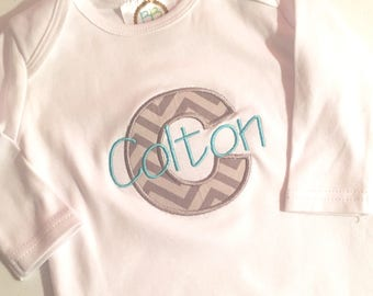 Boy Infant Gown, Boy Gown with Initial, Boy Monogrammed Bodysuit, Boy Monogrammed Gown, Boy Bodysuit with Name, Boy Bodysuit with Initial