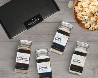Sweet Popcorn Seasoning Gift Set Including Spiced Cinnamon and Sugar, Kettle Corn, Sugar Cookie, Salted Caramel – gluten free