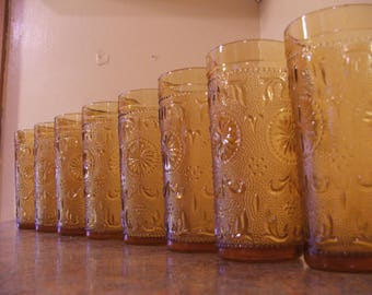 Set of Seven (7) Vintage 1960s Indiana Glass / Tiara Exclusives Amber Sandwich Glass Tumblers