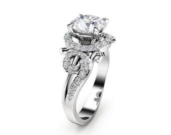 Diamonds Twig Halo Moissanite Engagement Ring 14K White Gold Ring Forever Briliant Moissanite Ring