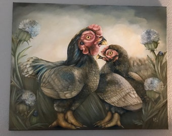 Original surreal unframed oil painting 20 x 16: 'Cornwall' (Cornwall rooster and hen against landscape with thistle)