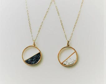 Gold Marble Circle Necklace, Black and White Marble Geometric Necklace, Simple Jewelry, Layering Necklace