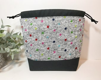 Small Knitting Crochet Project Bag in Polka Dots