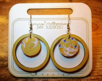 Wooden earrings, laser cutting, hand-painted and decoupage