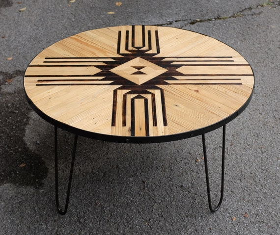 Etsy Round Coffee Tables: Reclaimed Round Coffee Table W/ Hairpin Legs