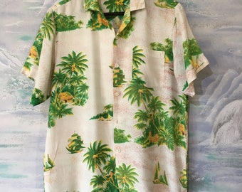 Mens Hawaiian Shirt Vintage Tropical Shirt Mens Vacation Shirt Comfortable Summer Shirt Size Large Shirt Mens Safari Shirt