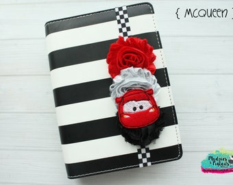 Cars Planner band { Lightning Mcqueen } race car, checkered cartoon  movie, retro, route 66 planner cover accessories bookmark, bible band