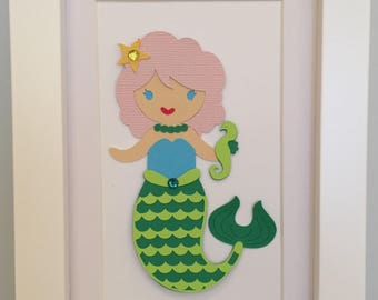 Framed Paper Doll -  Mermaid (4x6)