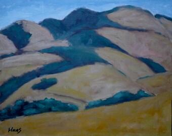 Original Oil Painting California Landscape Painting Golden Hills Original Artwork Plein Air California Artist Mount Diablo Castle Rock Road