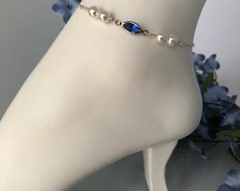 Something Blue Bridal Anklet, Brides Something Blue, Something Blue Crystal Anklet, Bridal Shower Gift, Something Blue Jewelry, Wedding