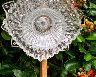 Opal • Yard Art • Glass Garden Flower • Federal Petal Vintage Repurposed Glass Garden Decor Retro • Upcycled Sun Catcher