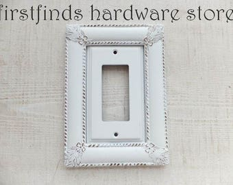 Light Switch Plate Electrical Outlet Plug Cover Shabby Chic White Gold GFI Framed Farmhouse Painted Vintage Single Rocker DESCRIPTION BELOW