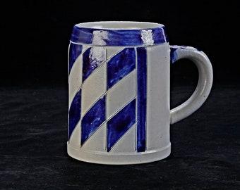 Beautiful quaint beer mug, painted stoneware, blue diamonds,