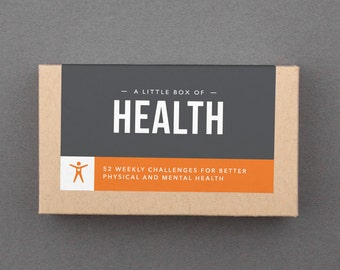 "Healthy Fitness, Wellness Gift, Idea Box. Self Care, Body, Diet, Mental, Weight Loss. Diet Goals Gift. For Him, Her. ""Health Box"" (L5HEA)"