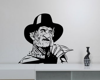 Freddy Krueger Wall Sticker Removable Vinyl Decal A Nightmare on Elm Street Art Decorations for Home Room Bedroom Horror Movie Decor krg2