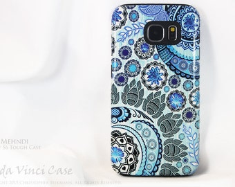 Blue Paisley Galaxy S6 Case - TOUGH dual layer S 6 Case - Blue Mehndi - Floral S6 Case