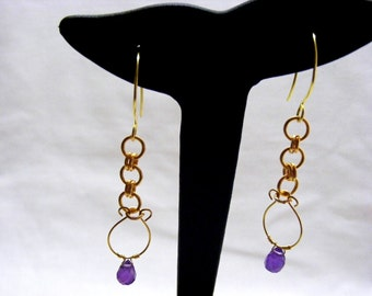 Amethyst Drop Hoop Earrings
