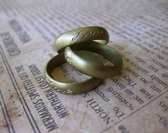 1 PC Unfinished Raw Brass Ring Band / Love - Sz 8 - VV21