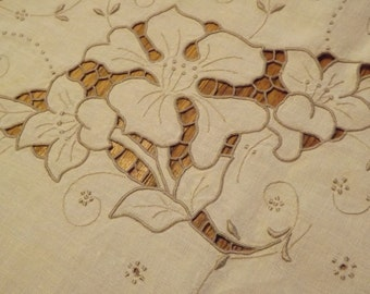 Antique Oblong Tablecloth With Elaborate Embroidery And Cutwork