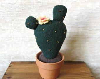 Plush Blooming Prickly Pear Cactus in Dark Green Wool, Eco Friendly Home Decor, Stuffed Cactus Pincushion