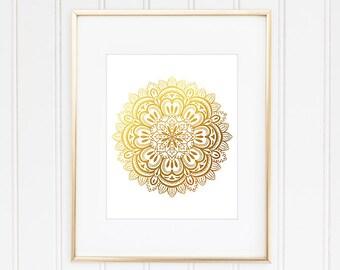 Mandala Poster, Faux Gold Foil Mandala, Mandala Print, Mandala Art, Hindu Art, Buddhist Decor, Spiritual Art, Home Decor, Office Decor