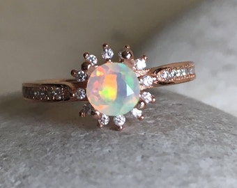 Opal Rose Gold Ring- Opal Engagement Ring- Halo Opal Promise Ring- October Birthstone Ring-Unique Engagement Ring-Solitaire Anniversary Ring