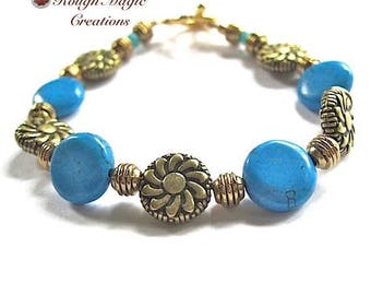Turquoise Blue Gemstone Bracelet, Spring Flower Jewelry, Antiqued Brass, Art Deco Floral Beads, Gift for Women, Gold Heart Toggle Clasp B218