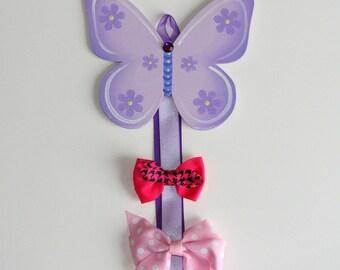 purple butterfly barrette holder