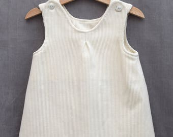 Winter white corduroy baby/toddler pinafore dress
